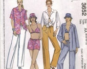 McCall's Sewing Pattern 3652 - Misses' Shirts, Bikini Top, Pants, Shorts and Hat (6-12)