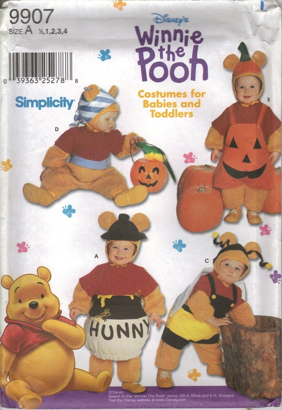 Simplicity Costume Sewing Pattern 9907 - Babies' & Toddler's Disney Winnie-the-Pooh Costumes (.5-4)