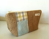 Repurplosed Coffee Bag Burlap Make-Up Bag- Blue and Yellow Plaid with White and Damask