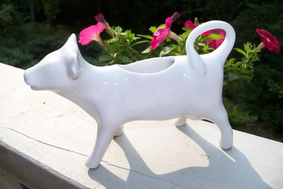 Vintage Porcelain China Cow Milk Cream Pitcher Made in France