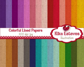 Lined Colorful Digital Papers - Scrapbooking Paper - card design, invitations, paper crafts, web design - INSTANT DOWNLOAD