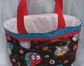 Kids Owls tote bag, small quilted tote, padded tote for kids