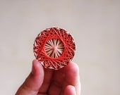 Geometric Brooch - salmon and orange - cotton thread