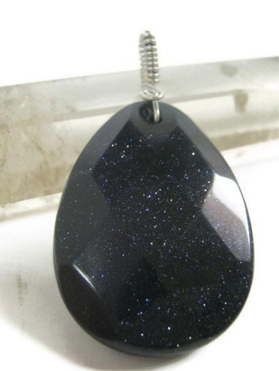 Purple Black Goldstone Faceted Pendant, Wire Wrapped