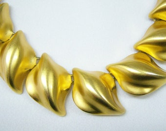 Anne Klein necklace brushed gold metal leaf form