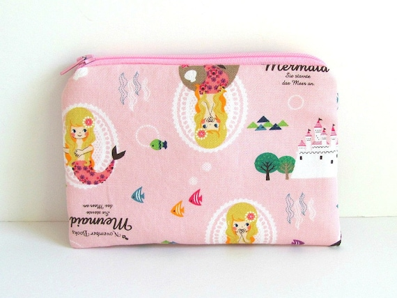 iPhone Cell Phone Camera Mermaid kawaii Padded Pouch Kids Accessories Girls Coin Purse Pink Womans Wallet