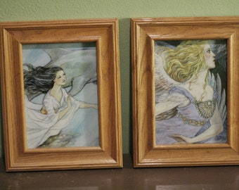 Set of  beautiful ethereal angel prints in wooden frames