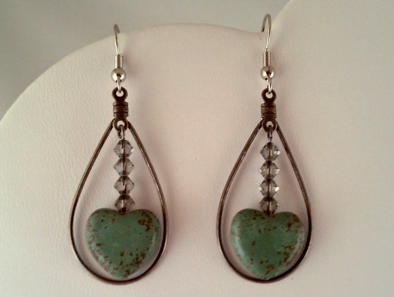 Teal Magnesite Heart Drop Hoop Earrings