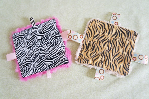 Baby Girl Toys, crinkle toy, infant toy,set of two,  5 inch squares, minkey swirl backing, babies love these.  Tiger print Theme (V)