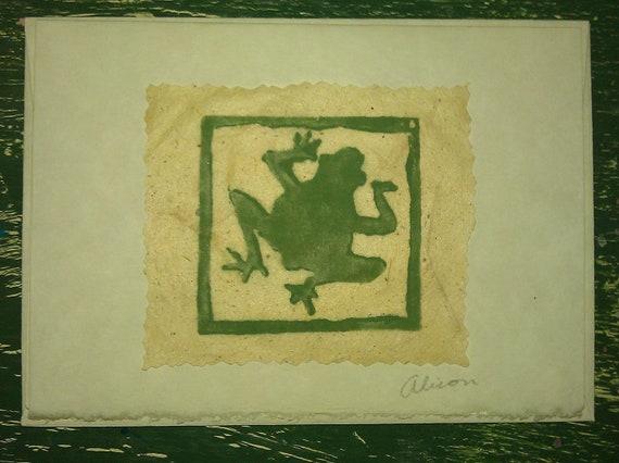Mini Frog 2 x 2 linocut print