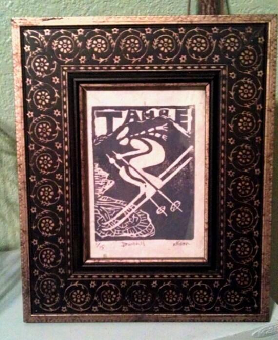 Tahoe Vintage Skier 5 x 7 linocut framed