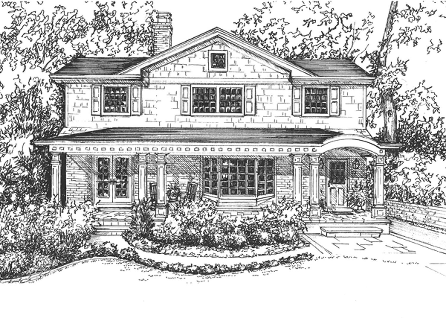 House Rendering hand drawn in ink home custom home