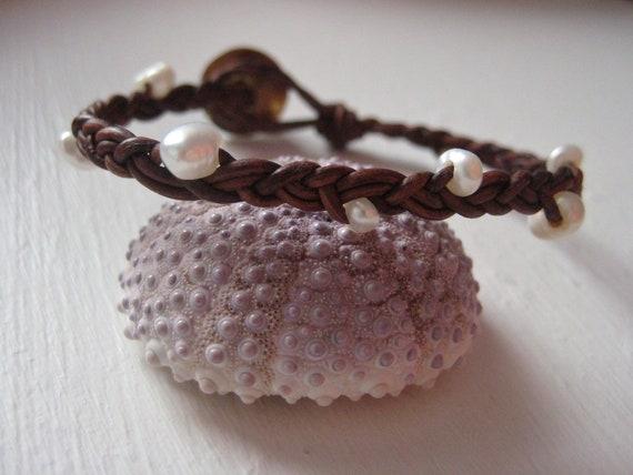 Pearl Leather Bracelet, Braided