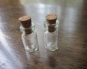 2 Miniature Glass Bottles 18x10mm