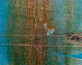 Abstract Fine Art Industrial Photography Blue Rust, Nazca Lines - 8x12