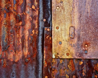 Abstract Fine Art Photography Industrial Rust Orange Red Rust, Pleated and Pressed 8x12