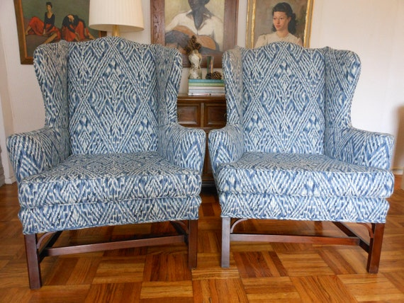 Pair of Vintage Chippendale Style Wingback Chairs by KITTINGER