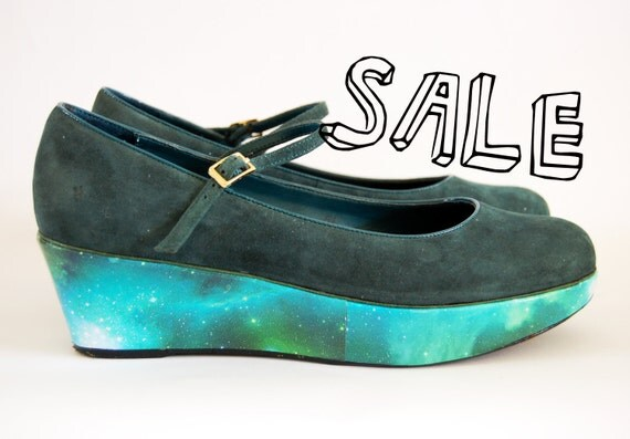 RESERVED MAY KASAHARA -  vintage galaxy cosmic nebula print platform wedge shoe size uk 5/6