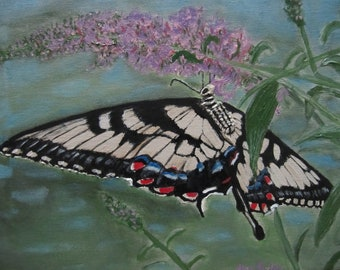 An original acrylic painting entitled Tiger Swallowtail Butterfly