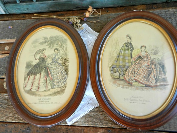 Antique Framed Pair of French Fashion Prints