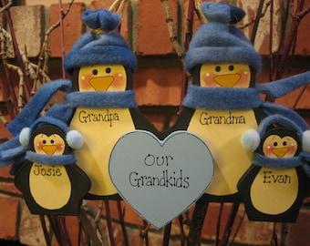 Family of 4: Fleece Penguin Family Ornament