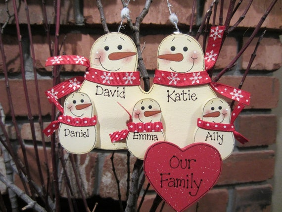 Family of 5: Personalized Snowman Family Ornament - Red & White Style