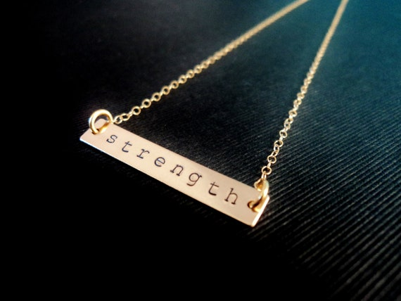 Personalized Gold Bar Necklace, Rectangle Handstamped Gold Minimalist, Minimal Gold Filledcyber monday etsy