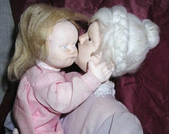 Crandmother Doll.........Cloth Art Sculpture...Grandmother  and Grandchild...Picture of Unconditional Love