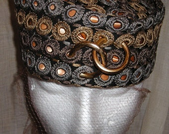 Vintage Hat...Nell New York....G. Fox & Co.....Cossack Hat....High Style Hat....Fashion Forward...Low on the Brow