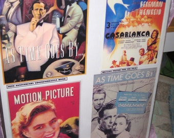 Casablanca...As Time Goes By.....Poster Art.....Ingrid Bergman....Humphrey Bogart......Old Movie Posters .....Collectibles