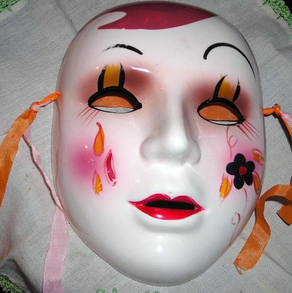 Pierrot Sad Clown  Ceramic Mask.. Tear Drops Fall....Sadness Clown....Pierrot...Pierette...Ceramic ...Wall Decor ..Hand Painted..M2