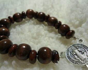 St Saint Benedict Pocket Rosary -- Spelunkers, Inflammatory Diseases, Kidney Disease -- Wood and Jasper -- Unique Christmas Gift