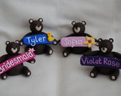 Personalised named teddy bears or Rabbits.Unique wedding table place names/wedding favours, or a special gift personalised for any occasion.