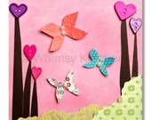 Children's Art, Nursery Art, Kids Decor, Nursery Wall Art, Butterflies and Buttons