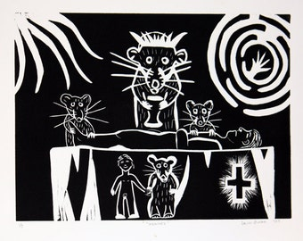 When Rats Ruled - Healers linocut print on paper