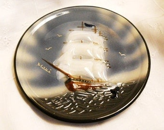 Signed Mid Century Modern Studio Wall Pottery Cottage Vintage 1970s Maui Plate Clipper Ship Whale Hawaiian Blue Gray White Plate Souvenir
