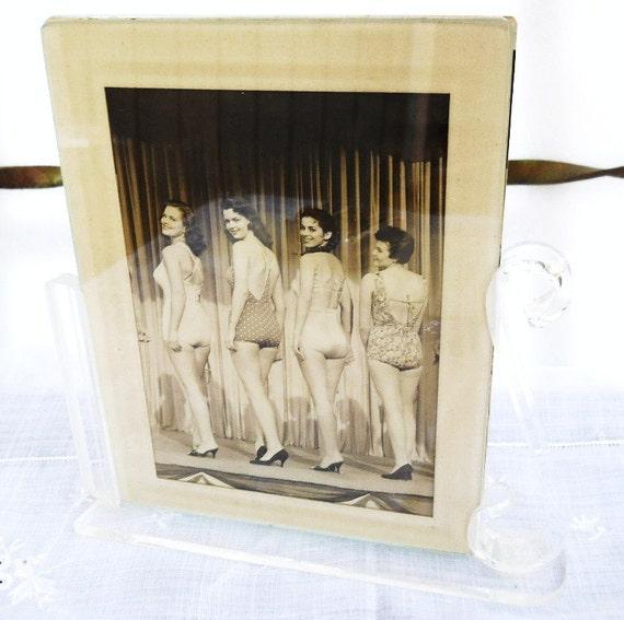 Vintage 1940s Beauty Bathing Suit Contest Pageant Photo Art Deco Lucite Frame - Paris apartment