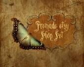 Premade Etsy Shop Image Set - Design 68 Vintage Butterfly