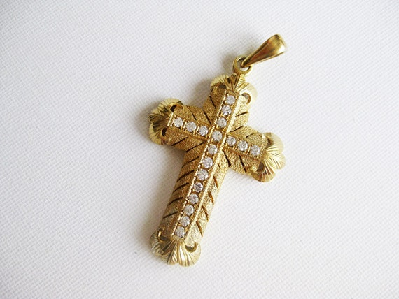 Vintage Ornate Big Cross Pendant with CZ Gold-dipped Silver 1980s from the Philippines