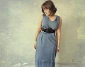 1990s Cotton Maxi Dress / Country Blue / Sheath Dress / Casual / Day Dress / Loungewear / Size Medium