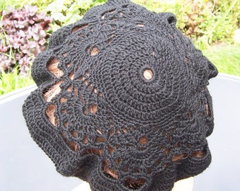 Handcrocheted Lace black Women Beret, Lace Beret, UK Seller