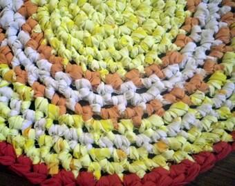 Artisan Crochet Rag Rug Day Lily Cottage Shabby Chic Eco FriendlyTextile Art Hand Made Nursery Kitchen Dorm Pet Mat Yellow Orange