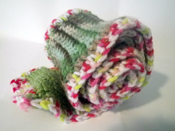 Girls Scarf Patchwork Candy Canes and Ruffles  Hand Made 4.5 x 47 inches Pink Green White Crochet