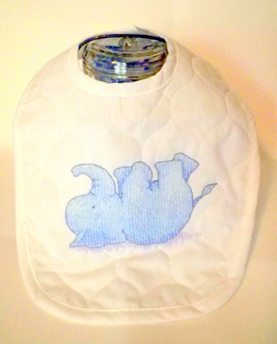 Quilted Baby Bib Blue Giggly Elephant for Boy or Girl Baby Shower Nursery Gift Toddler