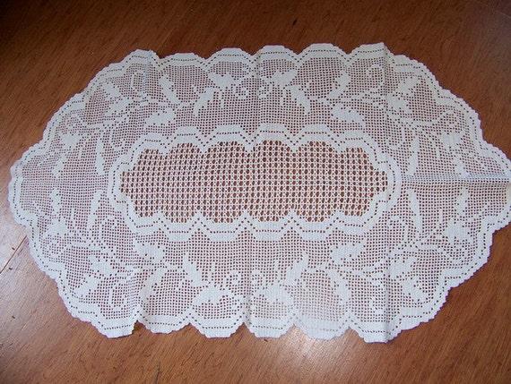 Large Wide Vintage Crochet Runner Centerpiece 20 x 34