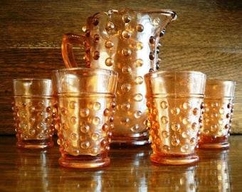 vintage Fenton art glass - HobNail Childs WATER SET AMBER GLass ...