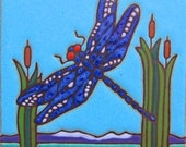 Ceramic tile, Dragonfly, hot plate,walldecor, kitchen backsplash, installation, hand painted,