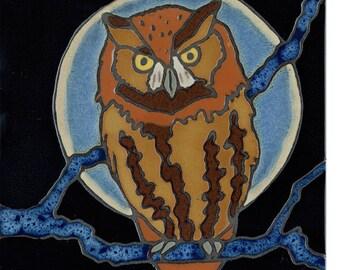 Handpainted tile Owl made in usa original art ceramic tile