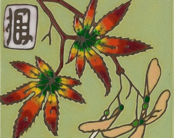 Hand painted ceramic tile Maple Leaf original art tile