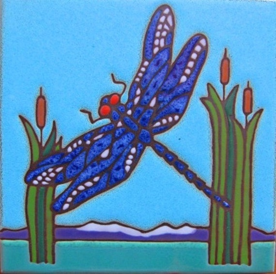 Ceramic tile, Dragonfly, hot plate,walldecor, kitchen backsplash, installation, hand painted,
